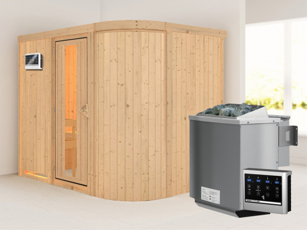 Sauna Systemsauna Titania 4 Energiespartür + 9 kW Bio-Kombiofen mit ext. Strg