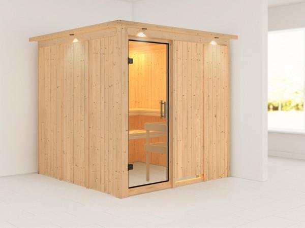Sauna Systemsauna Rodin mit Dachkranz, Klarglas Ganzglastür