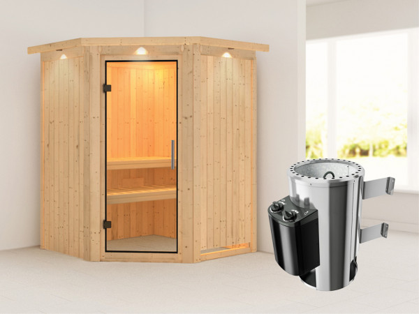 Sauna Systemsauna Nanja mit Dachkranz, Klarglas Ganzglastür + Plug & Play Saunaofen mit Steuerung