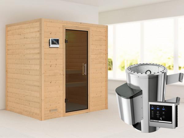 Sauna Massivholzsauna Ronja graphit Ganzglastür + Plug & Play Saunaofen mit externer Steuerung