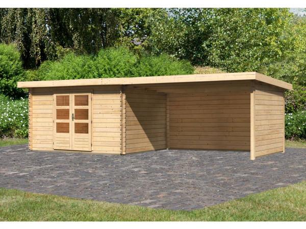 Gartenhaus Blockbohlenhaus SET Bastrup 7 28 mm naturbelassen, inkl. 4 m Anbaudach + Seiten-/Rückwand