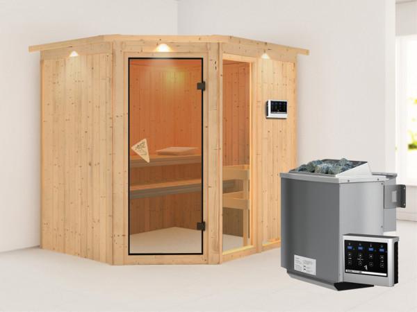 Sauna Systemsauna Fiona 2 mit Dachkranz, inkl. 9 kW Bio-Kombiofen ext. Steuerung
