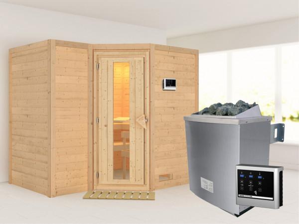 Massivholzsauna Sahib 2 Holztür mit Isolierglas, inkl. 9 kW Ofen ext. Steuerung