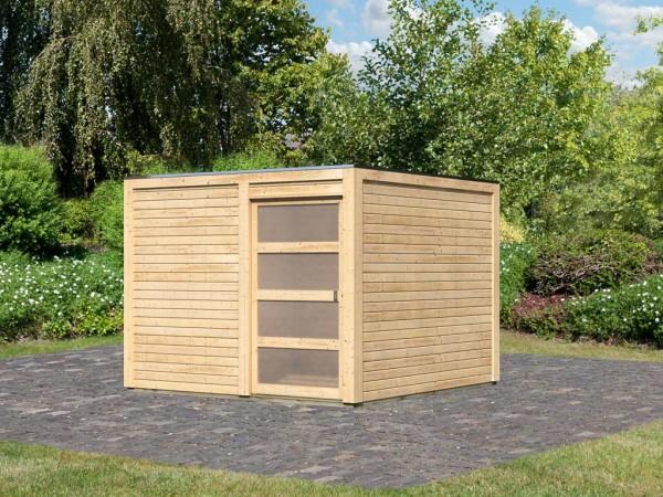 Gartenhaus Qubic 2 CLASSIC 19 mm naturbelassen + selbstklebende Dachfolie