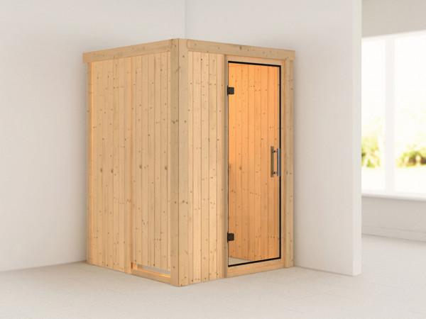 Sauna Systemsauna Lenja Klarglas Ganzglastür