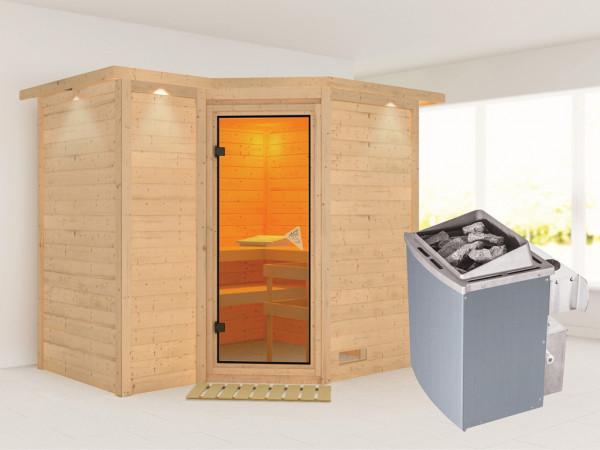 Massivholzsauna Sahib 2 mit Dachkranz, bronzierte Ganzglastür, inkl. 9 kW Ofen integr. Steuerung