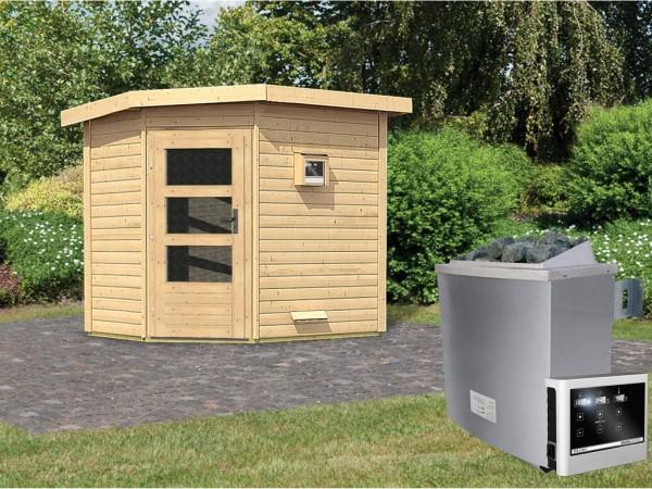 Saunahaus Mikka mit Klarglastür, inkl. 9 kW Saunaofen mit externer Steuerung