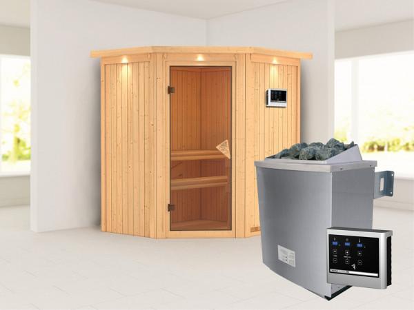 """Systemsauna """"Taurin"""" mit Dachkranz, bronzierte Ganzglastür, inkl. 9 kW Saunaofen ext. Steuerung"""