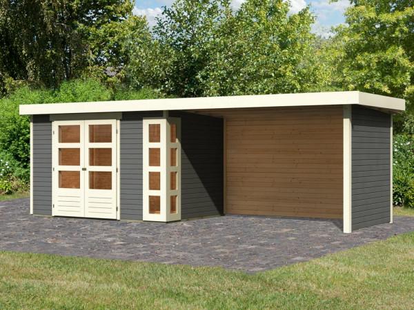 Gartenhaus SET Kerko 4 19 mm terragrau, inkl. 2,8 m Anbaudach + Seiten- und Rückwand