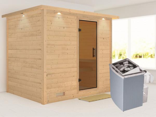 Massivholzsauna Sonara mit Dachkranz, graphit Ganzglastür, inkl. 9 kW Saunaofen integr. Steuerung