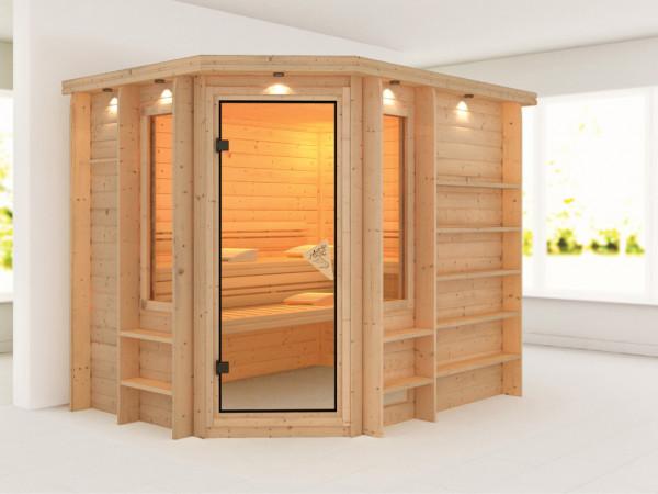 Sauna Massivholzsauna Riona mit bronzierter Glastür