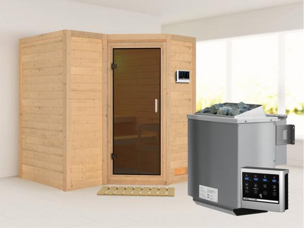 Massivholzsauna Sahib 1 graphit Ganzglastür, inkl. 9 kW Bio-Ofen ext. Steuerung