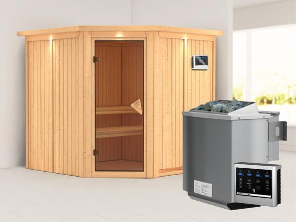 Systemsauna Jarin mit Dachkranz, bronzierte Ganzglastür, inkl. 9 kW Bio-Kombiofen ext. Steuerung
