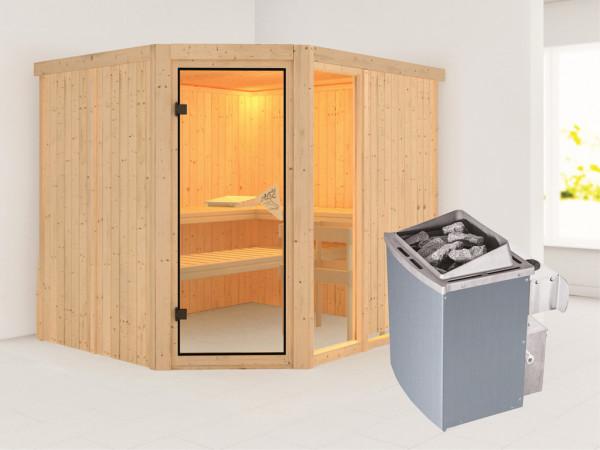 Sauna Systemsauna Fiona 3 inkl. 9 kW Saunaofen intergr. Steuerung