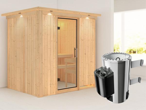 Sauna Systemsauna Fanja mit Dachkranz, Klarglas Ganzglastür + Plug & Play Saunaofen mit Steuerung
