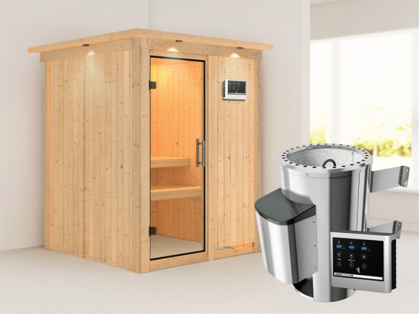 Sauna Systemsauna Minja mit Dachkranz, Klarglas Ganzglastür + Plug & Play Saunaofen mit ext. Strg