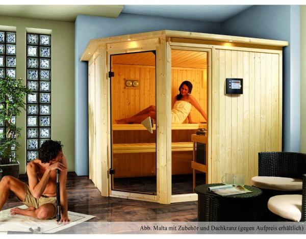 Sauna Systemsauna SPARSET PLUS Malta inkl. 9 kW Bio-Kombiofen ext. Steuerung & Zubehörpaket