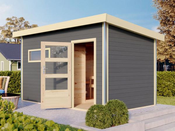 Saunahaus Skrollan 3 mit moderner Tür terragrau