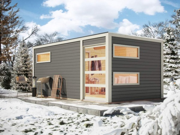 Saunahaus Hygge Grau mit Schiebetür & Vorraum, inkl. 9 kW Saunaofen mit integrierter Steuerung