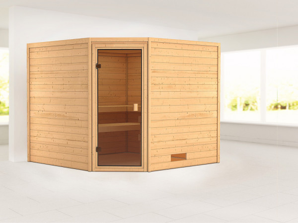 Sauna Massivholzsauna Leona bronzierte Ganzglastür