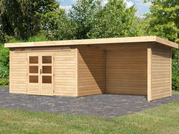 Gartenhaus SET Kandern 7 28 mm naturbelassen, inkl. 3,2 m Anbaudach + Seiten- und Rückwand