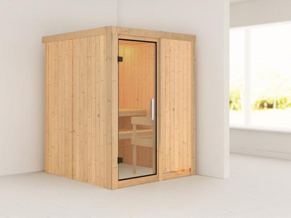 Sauna Systemsauna Norin Klarglas Ganzglastür