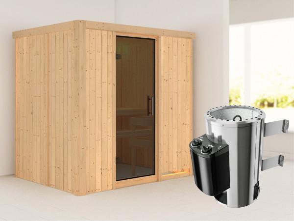 Sauna Systemsauna Fanja graphit Ganzglastür + Plug & Play Saunaofen mit Steuerung