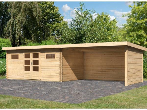 Gartenhaus Blockbohlenhaus SET Bastrup 10 28 mm naturbelassen, inkl. 4 m Anbaudach +Seiten-/Rückwand