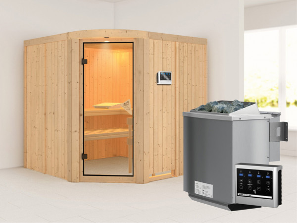 Sauna Systemsauna Aukura inkl. 9 kW Bio-Kombiofen ext. Steuerung