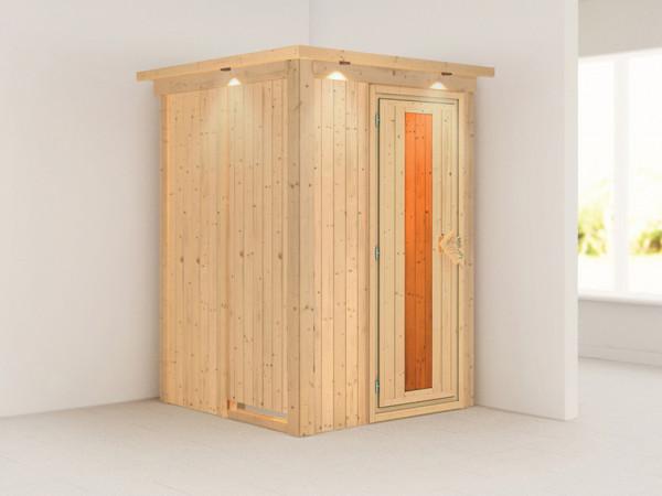 Sauna Systemsauna Lenja mit Dachkranz, Energiespartür