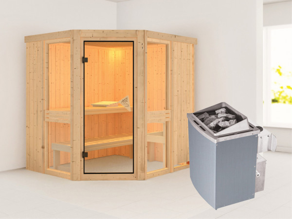 Sauna Systemsauna Amelia 1 inkl. 9 kW Saunaofen integr. Steuerung