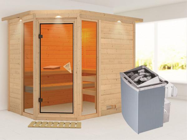 Sauna Massivholzsauna Sinai 3 mit Dachkranz, inkl. 9 kW Saunaofen integr. Steuerung