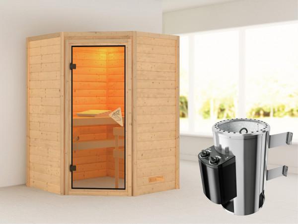 Sauna Massivholzsauna Alicja Bronzierte Ganzglastür + Plug & Play Saunaofen mit Steuerung