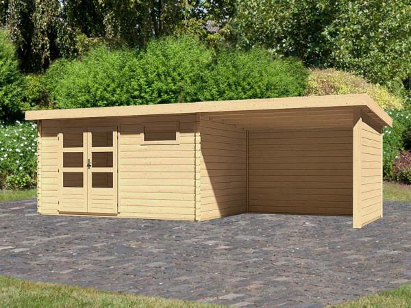 Gartenhaus Blockbohenhaus SET Bastrup 8 28mm naturbelassen, inkl. 3 m Anbaudach+Seiten- und Rückwand