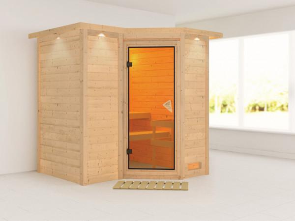 Massivholzsauna Sahib 1 mit Dachkranz, bronzierte Ganzglastür