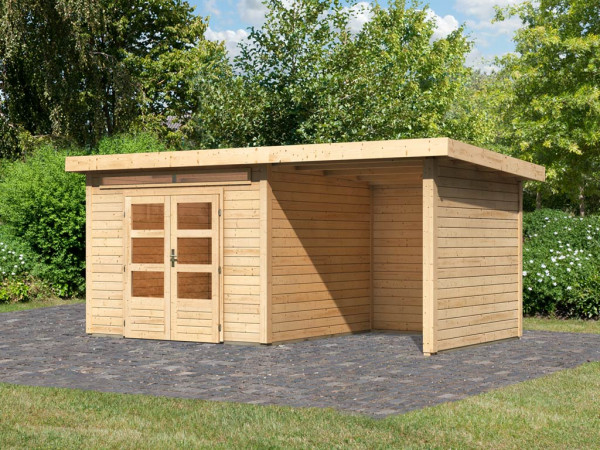 Gartenhaus SET Kandern 6 28 mm naturbelassen, inkl. 2,6 m Anbaudach + Seiten- und Rückwand