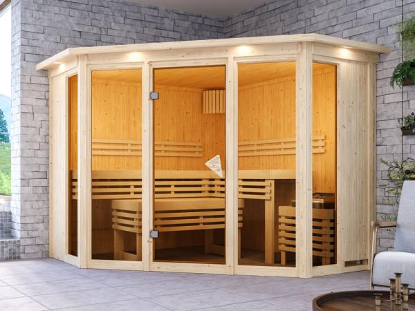 Sauna Alcinda mit bronzierter Glastür und Dachkranz + 9 kW Saunaofen integr. Strg.
