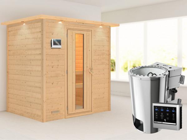 Sauna Massivholzsauna Ronja mit Dachkranz, Energiespartür + Plug & Play Bio-Ofen mit ext. Strg