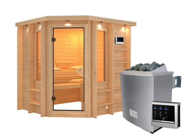 Sauna Massivholzsauna Cortona mit Dachkranz, inkl. 9 kW Saunaofen ext. Steuerung