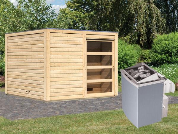 Saunahaus Cuben 38 mm naturbelassen inkl. 9 kW Saunaofen integr. Steuerung