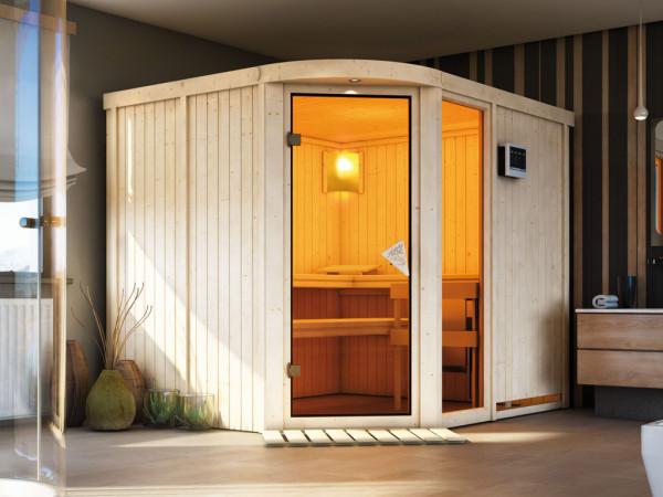Sauna Systemsauna Lakura mit Fenster, inkl. 9 kW Bio-Kombiofen ext. Steuerung