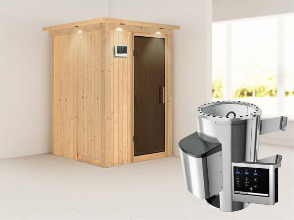 Sauna Systemsauna Lenja mit Dachkranz, graphit Ganzglastür + Plug & Play Saunaofen mit ext.Strg