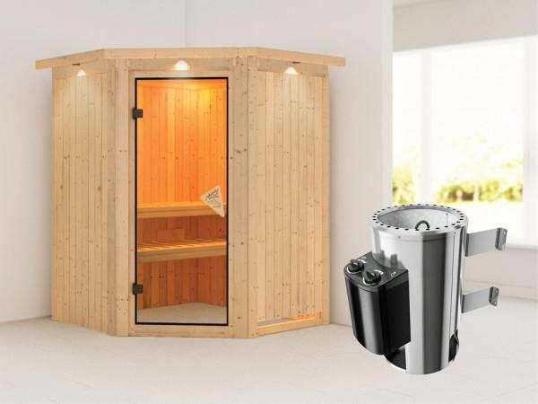 Sauna Systemsauna Nanja mit Dachkranz, inkl. Plug & Play Saunaofen Steuerung
