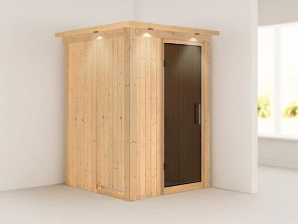 Sauna Systemsauna Lenja mit Dachkranz, graphit Ganzglastür