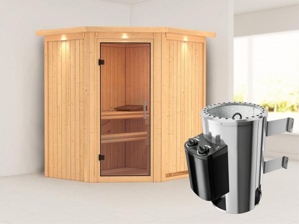 Sauna Systemsauna Tonja mit Dachkranz, Klarglas Ganzglastür + Plug & Play Saunaofen mit Steuerung
