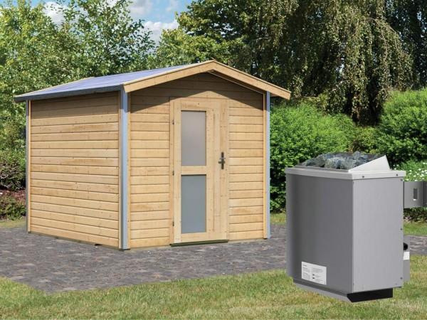 Saunahaus Bosse 1 mit Milchglastür & Vorraum, inkl. 9 kW Saunaofen mit integrierter Steuerung
