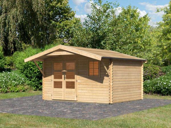 Gartenhaus Blockbohlenhaus SET Blockholm 5 28 mm naturbelassen, inkl. Vordach