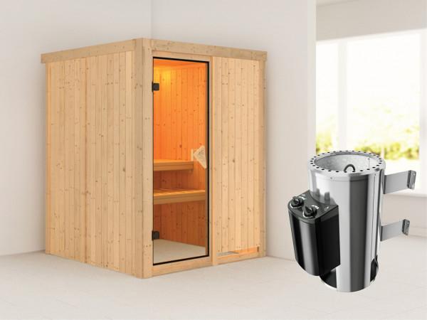 Sauna Systemsauna Minja inkl. Plug & Play Saunaofen Steuerung