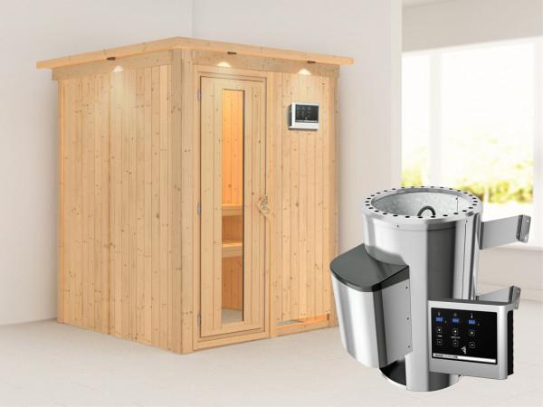 Sauna Systemsauna Minja mit Dachkranz, Energiespartür + Plug & Play Saunaofen mit ext. Steuerung