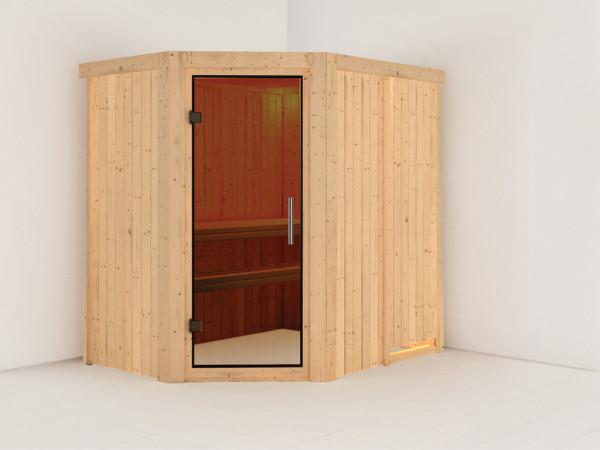 Sauna Systemsauna Saja graphit Ganzglastür